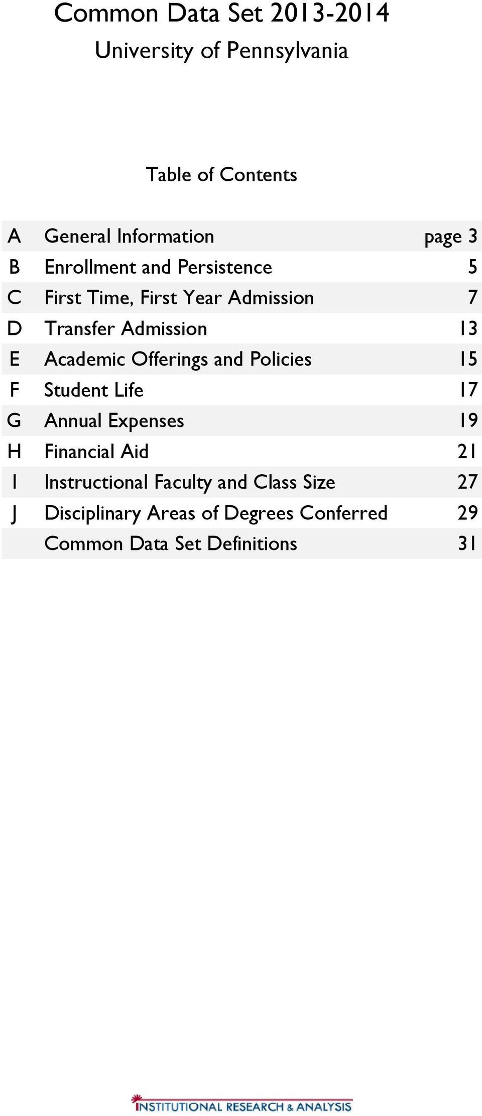Academic Offerings and Policies 15 F Student Life 17 G Annual Epenses 19 H Financial Aid 21 I