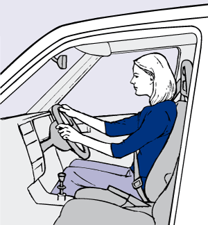 Figure 9(b). Good posture when driving. Use cushions to experiment if you need a higher seat or support in the small of your back. Do corsets help?
