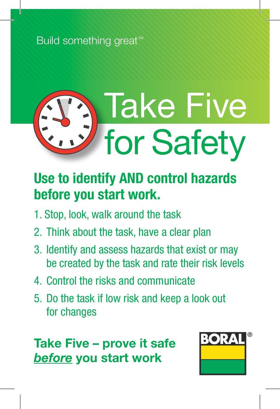Identify and assess hazards that exist or may be created by the task and rate their risk levels 4.