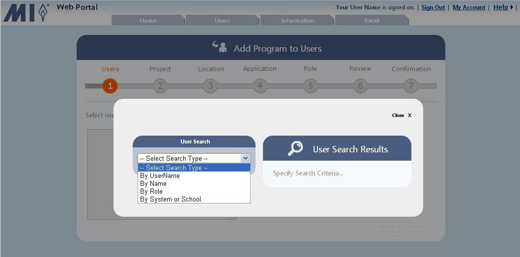 3. Step 1 - Users: Click Select Users. 4. Select the search type from the drop-down list.