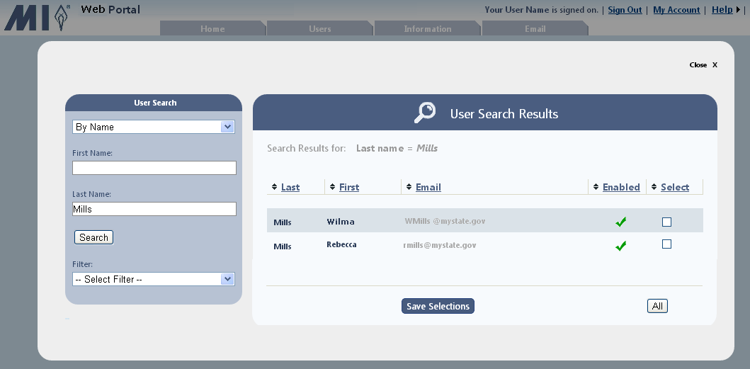 5. If you elected to search by: Username enter the complete username in the text box, and click Search.
