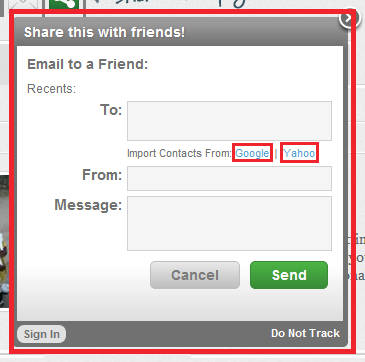 Enter in your GMAIL or Yahoo! Mail login information when prompted!
