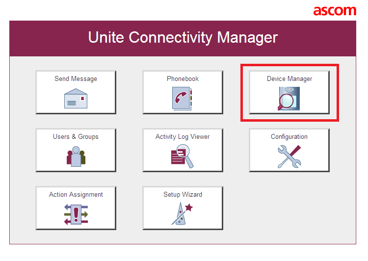 The main screen of Unite Connectivity Manager is seen as