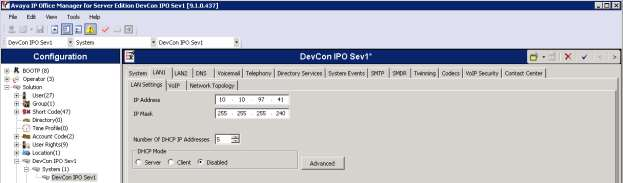 LAN1 configuration From the Configuration pane, navigate to Solution DevCon IPO Sev1 System (1) DevCon IPO Sev1.