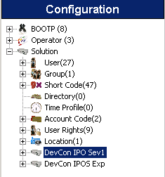 From the configuration tree in the left pane, navigate to DevCon IPOS Sev1 System DevCon IPOS Sev1 to display the Server Edition
