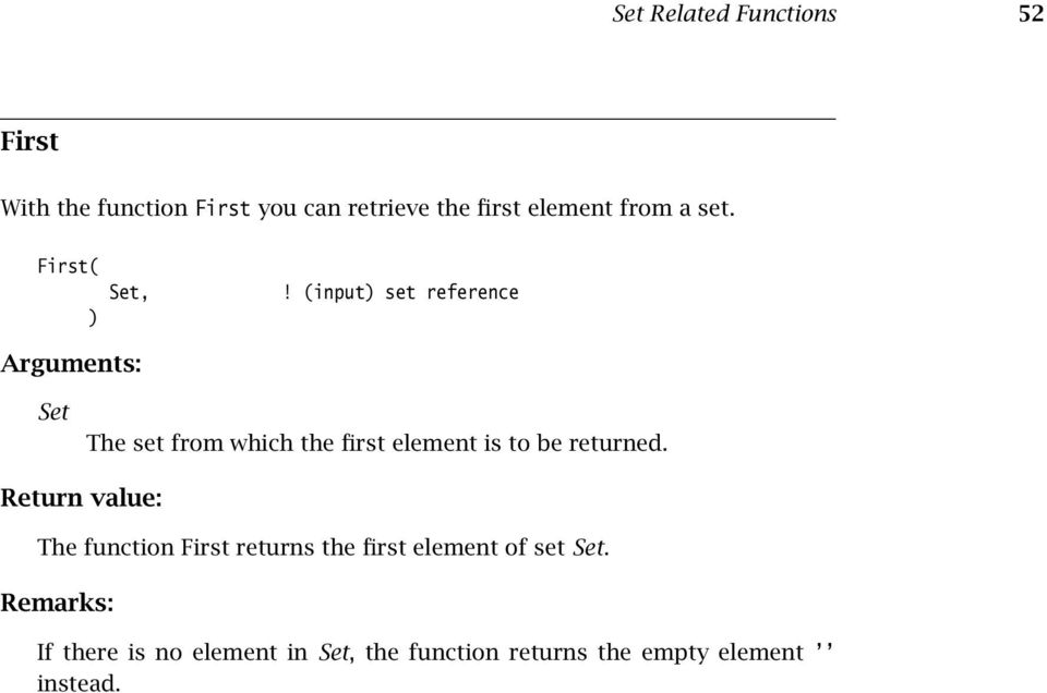 (input set reference Set The set from which the first element is to be returned.