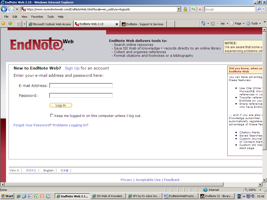 Referencing & Citing Introduction to EndNote Web