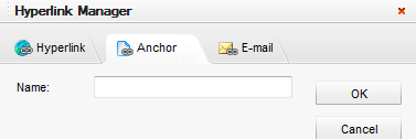 b) Anchor If you wish to link text to another position on the same page, you must create an Anchor on that position before creating the hyperlink.