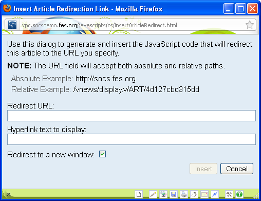 Javascript Editor Tool Bar and Buttons Insert Article Redirect Use the Article Redirect icon when you want a Section to redirect to another website, to a webpage or file within your site.