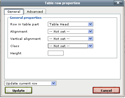 Table row properties General Tab Row in table part: Table Head automatically bolds and centers text. Table Body is regular text. Alignment: Select the placement of your text in the cell (left/right).