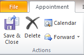 Creating a new appointment 1. From the Home tab in Calendar view, click the New appointment button. 2. Enter the subject, location and the start and end times. Include a message if desired. 3.