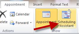 Using the Scheduling Assistant 1. Another way to schedule a meeting is through the scheduling assistant. 2.