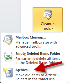 3. From the Cleanup Tools dropdown menu, select Archive. This will bring up a new window. In this window, please choose Archive this folder and all subfolders.
