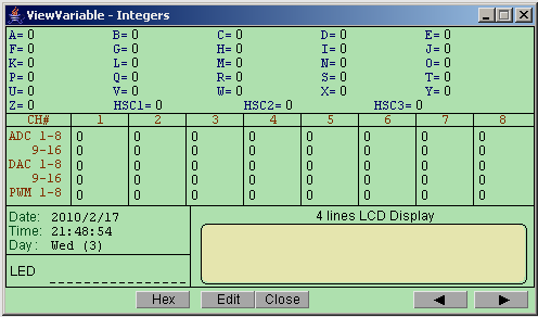 The status of all devices can be monitored from this window. If A/D converters are used then the Raw Data from the converters can be seen at the top of the window in ADC1-8 boxes.