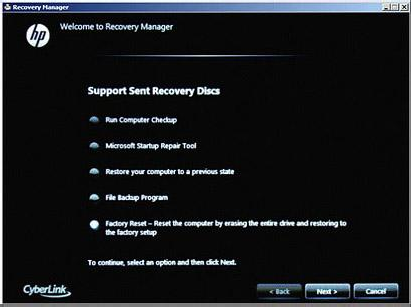 Recovery discs received from HP support: Select one of the following selections, depending on which selection is shown on your screen, and then click Next.