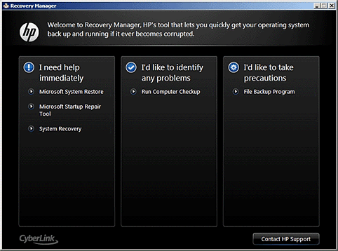 run from the startup screen, a set of recovery discs is needed to perform a system recovery. Follow the instructions listed in the section Starting the recovery from recovery discs. 1. 2. 3.