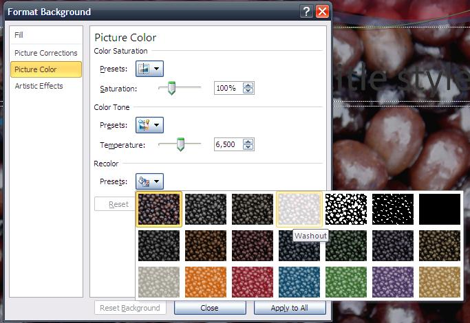 Color go to Recolor section click on the Fill button next to Presets select a desired style