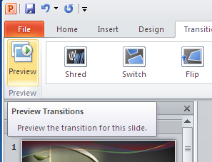 the presentation To preview the slide applied transition in full screen, press SHIFT + F5 on the keyboard To exit the preview in full screen mode, press ESC on the keyboard To adjust time of