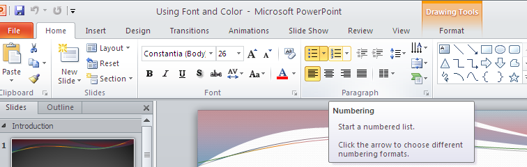 To reset fonts and color to original format, go to Home tab Slides group click Reset Quick tips: Press TAB key to move between the