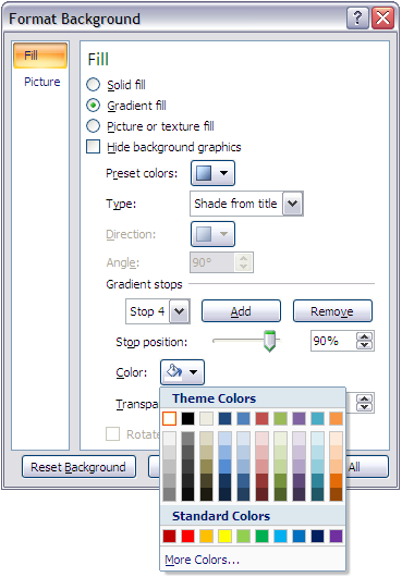 There are several fill types to choose from including Linear, Radial, Rectangular, and Path. Use the Type pull-down menu to change the design of the slide.