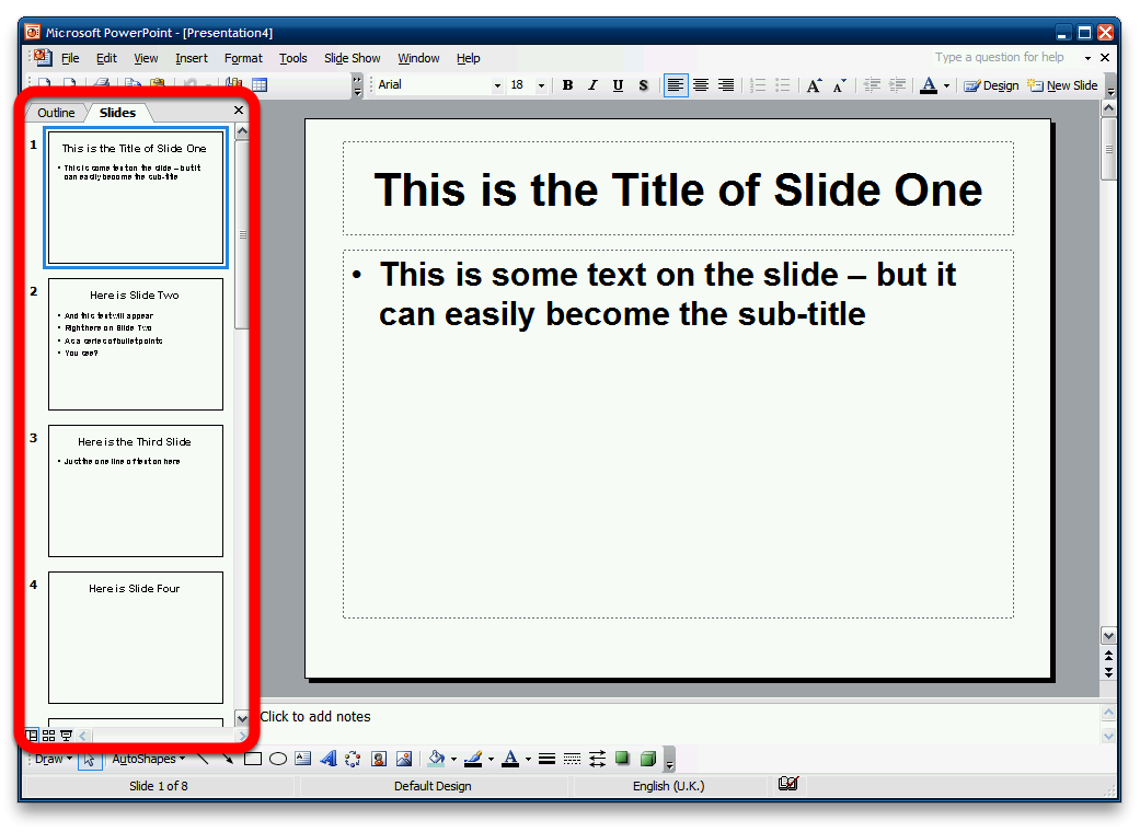 In PowerPoint open the RTF file From the File menu, pick Open... In the File Open window, make sure that you pick All Files (*.