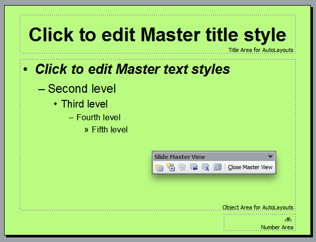 Changing the Background Colour of the Master Slide This lesson will show you how to change the background of your Master Slide Select the Background.