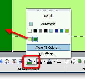 Adding a Coloured Block to the Background of the Master Slide Use the Rectangle tool to draw a coloured block Select the Rectangle tool from the Drawing toolbar Note: if the Drawing toolbar is not