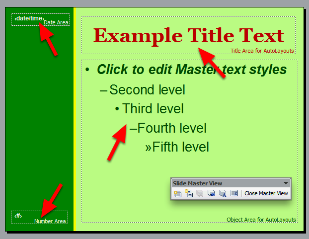 Select a colour from the Text Colour toolbar menu Change the alignment and/or bold, italic or underlining using the buttons in the toolbar Set the styling of all Master Slide items as required You
