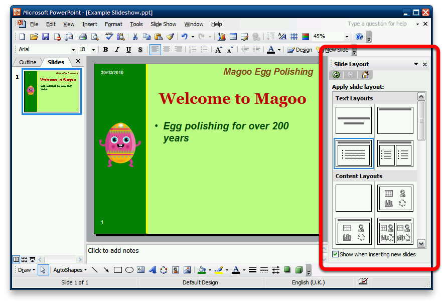 Opening the Slide Layout Pane This lesson will show you how to open and access the Slide Layout pane Open the Slide Layout pane In the slide list, right-click the slide you wish to change the layout