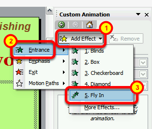 Adding Animations to Slide Items This lesson will show you how to animate objects on your slides Open the Custom Animation task pane Right-click the object that you wish to animate, and select Custom