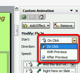 Your animation effect should now be listed in the Custom Animation task pane (Note: if you make a mistake, and you want to remove an effect, simply highlight it and press Delete) And you should see