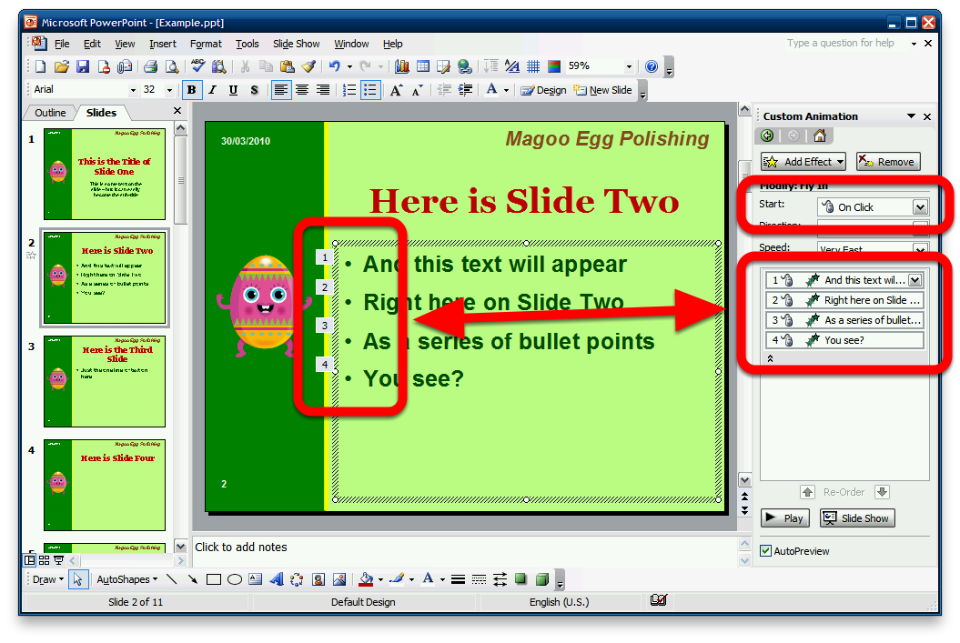 Showing Evidence of Slide Animations This lesson will show you how to provide evidence so that the examiners know that you have used animations Make all animation effects visible in the Custom