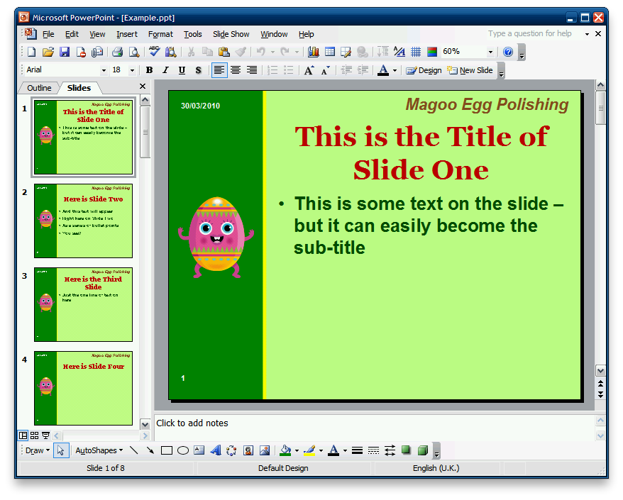 Different Slide Views This lesson will show you how to change how your slideshow is viewed Select the type of view from the View menu Click the View menu, then select: Normal to see the slide design