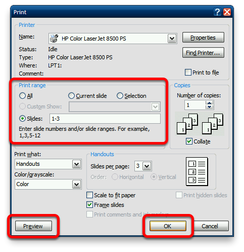 ... and you will see a range of priting options When you are ready to print, click the Print... button Click the Print.