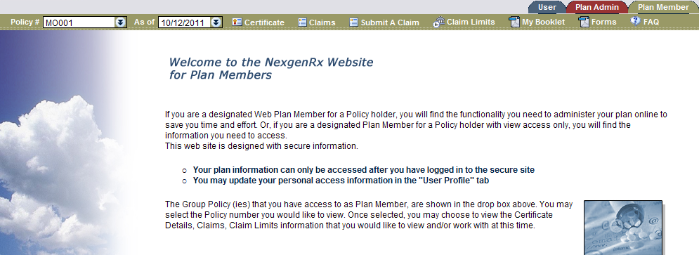 Submit A Claim The member can submit claims