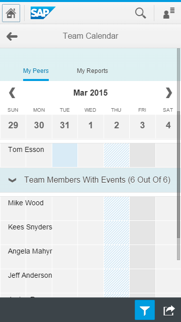 My Team Calendar In the Team Calendar app, users can view the upcoming leaves and