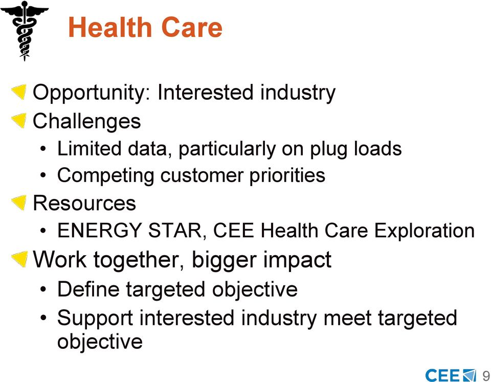 ENERGY STAR, CEE Health Care Exploration Work together, bigger impact