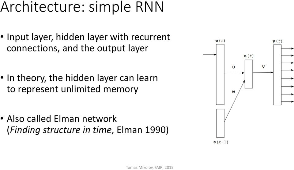 hidden layer can learn to represent unlimited memory Also