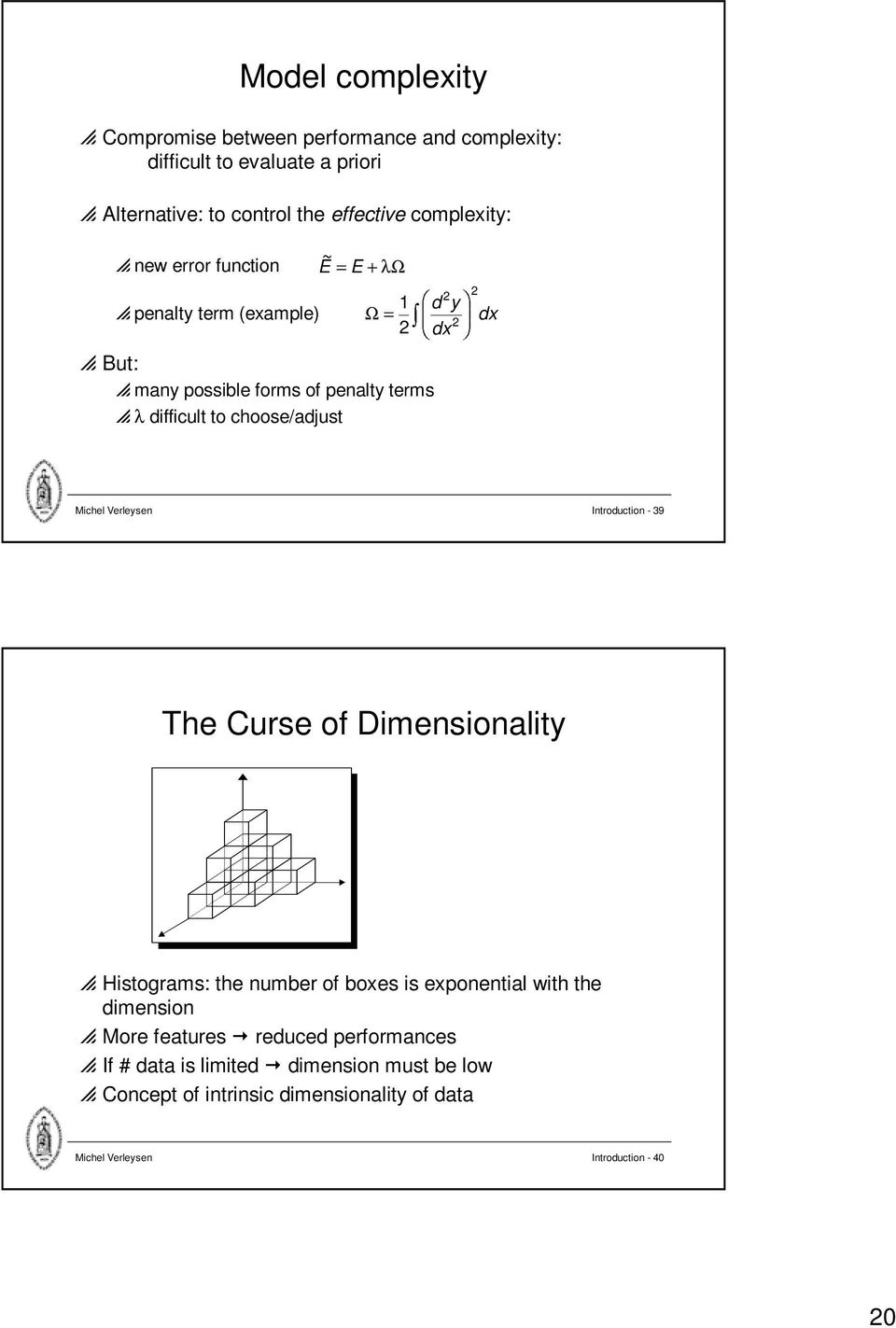 choose/adjust Michel Verleysen Introduction - 39 The Curse of Dimensionality p Histograms: the number of boxes is exponential with the dimension p