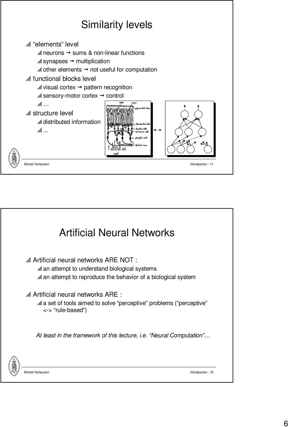 .. Michel Verleysen Introduction - Artificial Neural Networks p Artificial neural networks ARE NOT : p an attempt to understand biological systems p an attempt to reproduce the