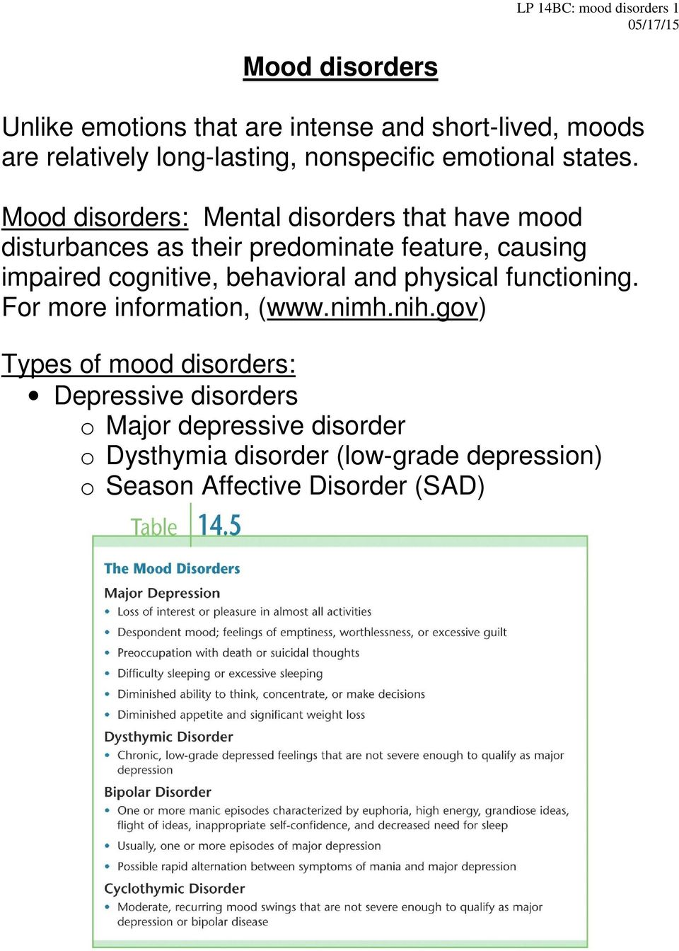Mood disorders: Mental disorders that have mood disturbances as their predominate feature, causing impaired cognitive,