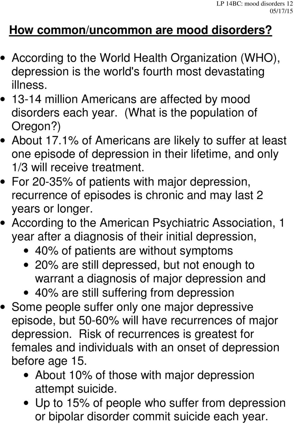 1% of Americans are likely to suffer at least one episode of depression in their lifetime, and only 1/3 will receive treatment.