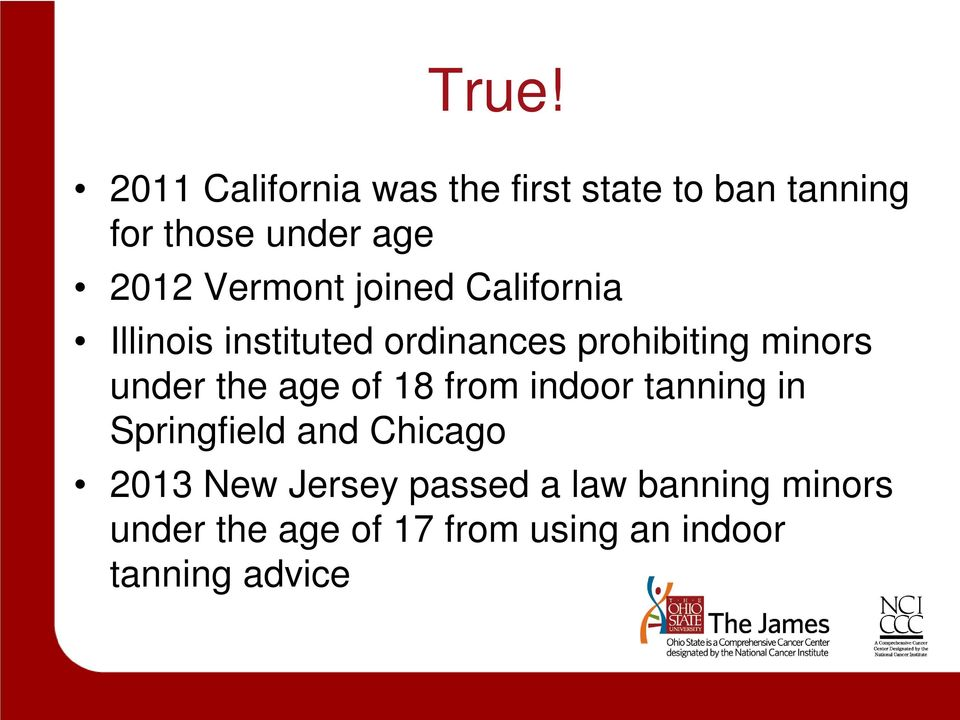 under the age of 18 from indoor tanning in Springfield and Chicago 2013 New