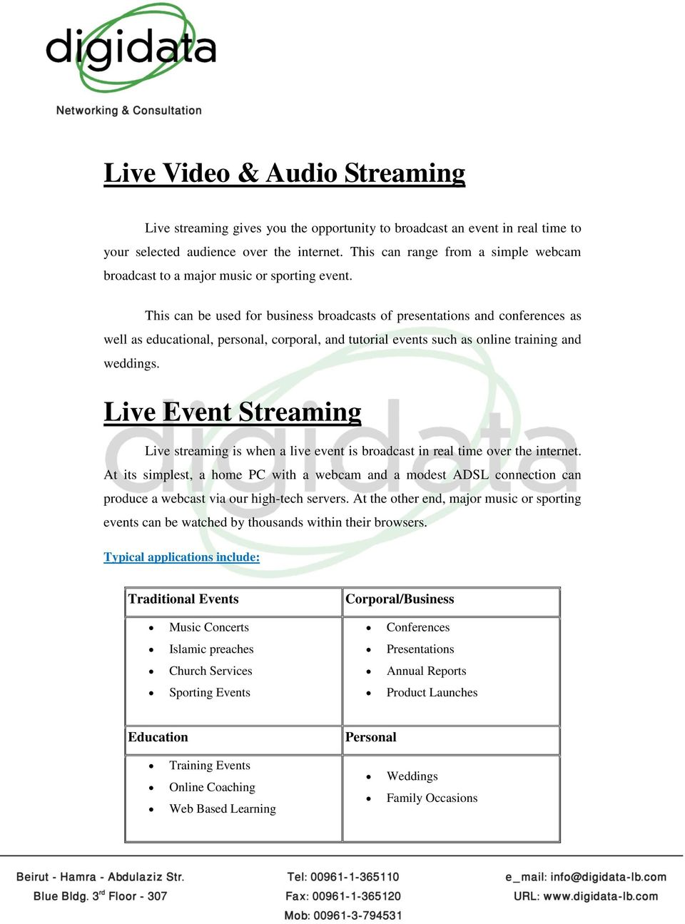 This can be used for business broadcasts of presentations and conferences as well as educational, personal, corporal, and tutorial events such as online training and weddings.