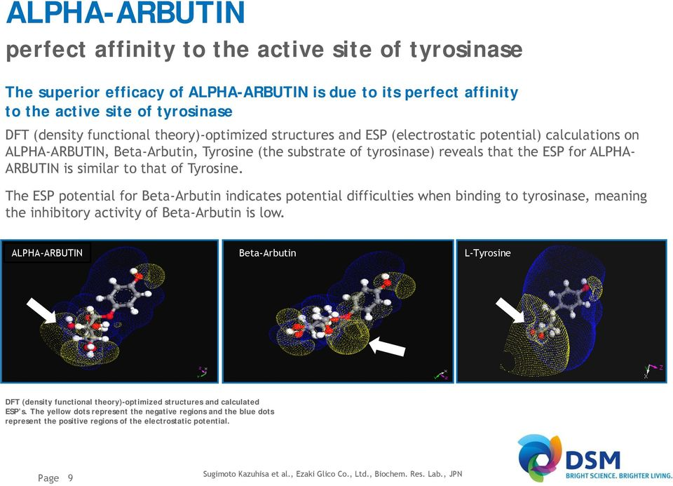The ESP potential for Beta-Arbutin indicates potential difficulties when binding to tyrosinase, meaning the inhibitory activity of Beta-Arbutin is low.
