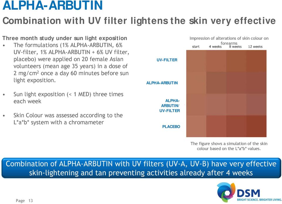 Sun light exposition (< 1 MED) three times each week Skin Colour was assessed according to the L*a*b* system with a chromameter UV-FILTER ALPHA-ARBUTIN ALPHA- ARBUTIN/ UV-FILTER PLACEBO Impression of