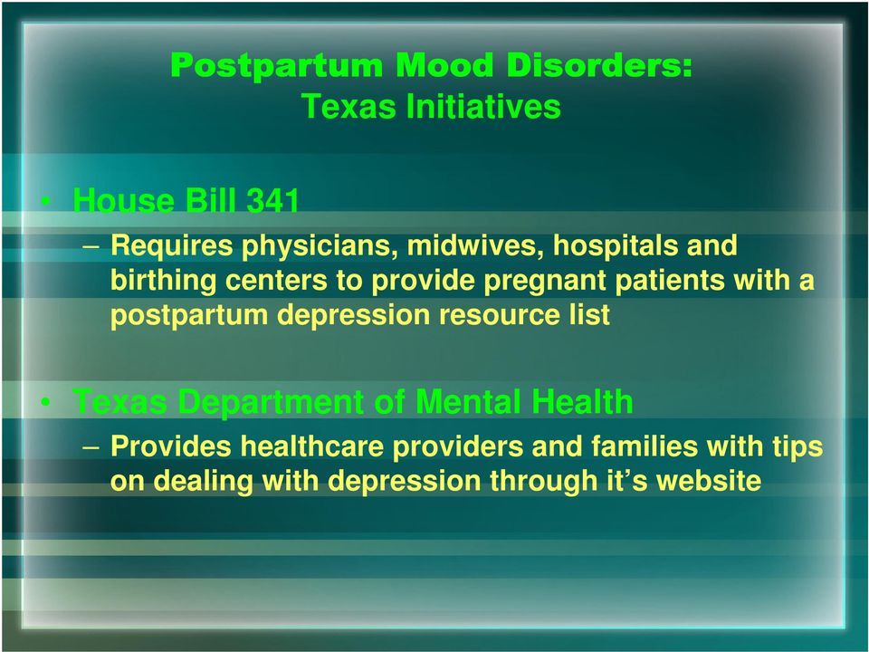depression resource list Texas Department of Mental Health Provides