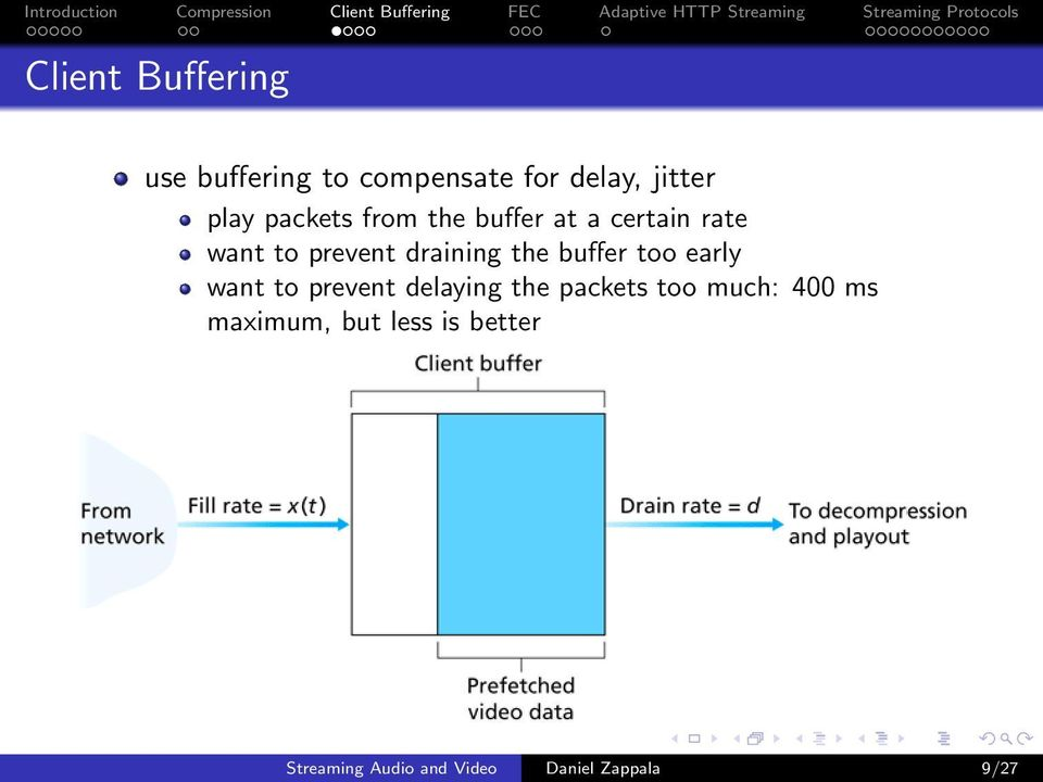 buffer too early want to prevent delaying the packets too much: 400 ms