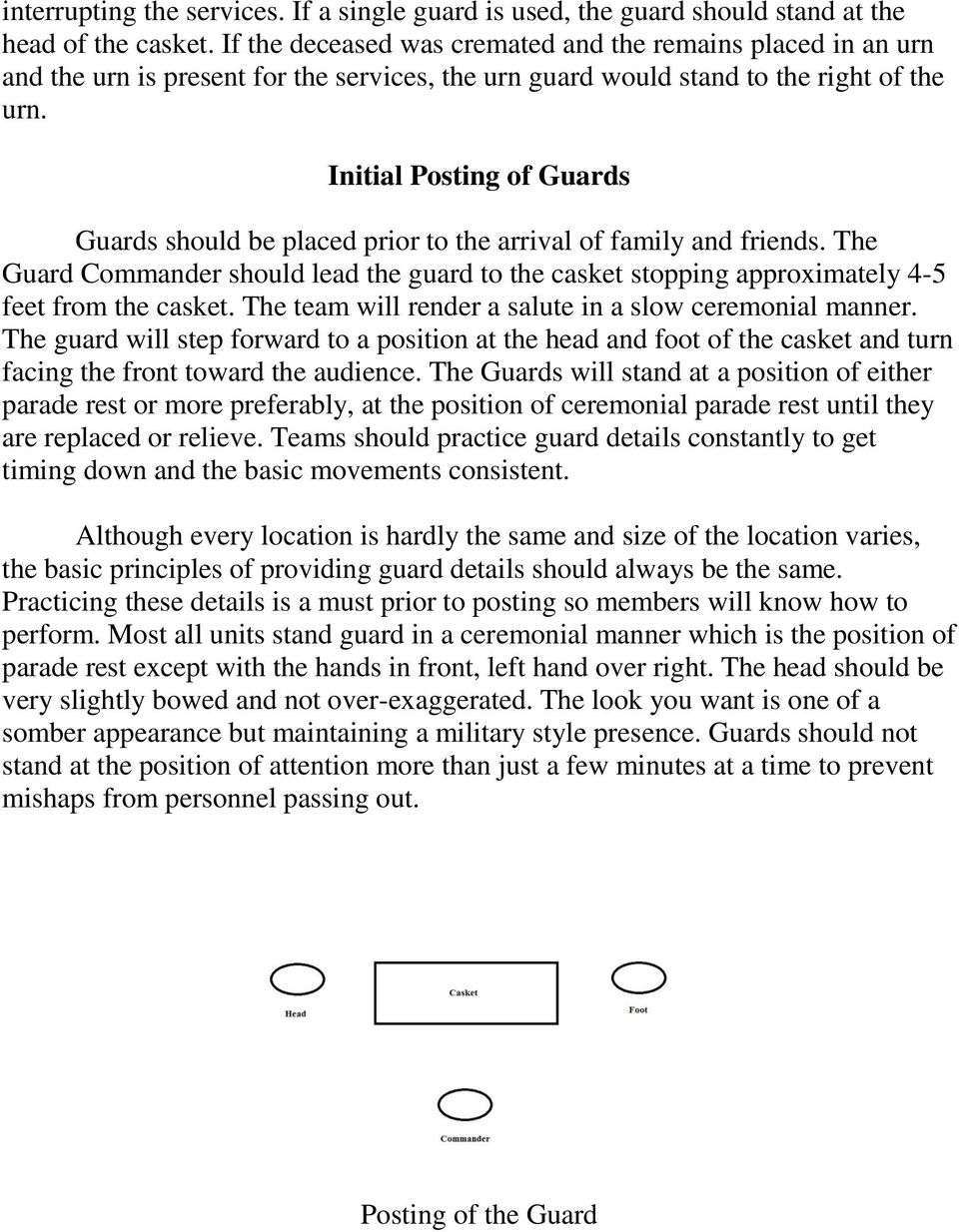 Initial Posting of Guards Guards should be placed prior to the arrival of family and friends. The Guard Commander should lead the guard to the casket stopping approximately 4-5 feet from the casket.