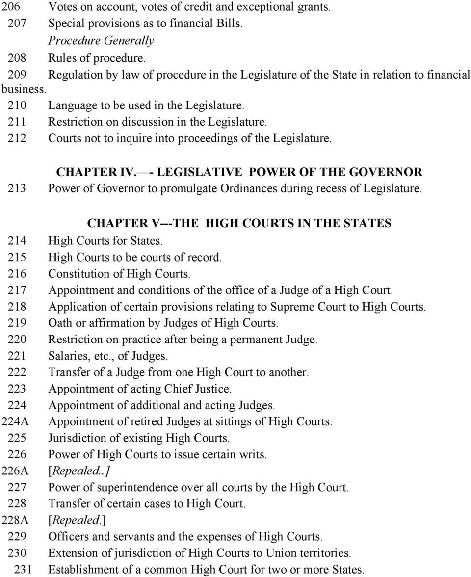 212 Courts not to inquire into proceedings of the Legislature. CHAPTER IV. - LEGISLATIVE POWER OF THE GOVERNOR 213 Power of Governor to promulgate Ordinances during recess of Legislature.